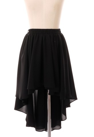 Black Asymmetric Waterfall Skirt $42