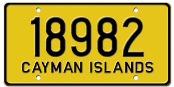 CAYMAN ISLANDS PRIVATE AUTO LICENSE PLATE