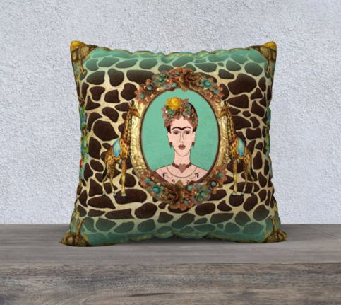 Funky Frida Kahlo Vintage Lions and Giraffe Print with Flowers Velveteen Large Cushion Cover sold by Jantulov Designs. Shop more products from Jantulov Designs on Storenvy, the home of independent small businesses all over the world.