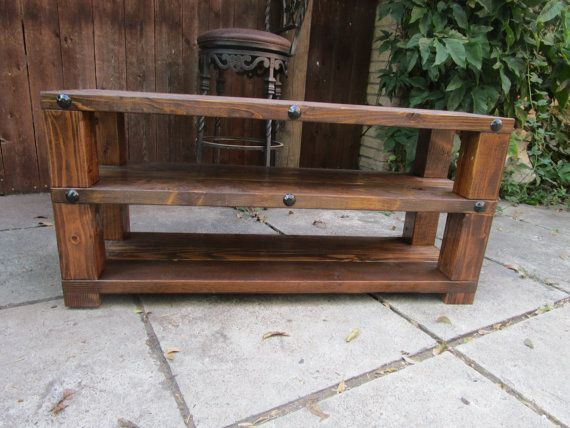 Rustic TV stand media center shelf console table, man cave decor, gift for him, gift for dad