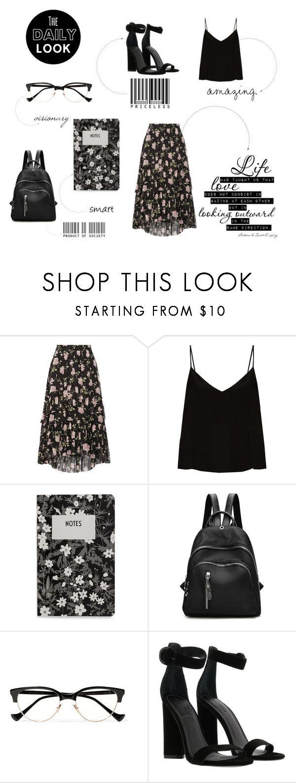 """""""College outfit"""" by maggiec003 ❤ liked on Polyvore featuring Ulla Johnson, Raey, Design Letters, Cutler and Gross, Kendall + Kylie and allblackoutfit"""