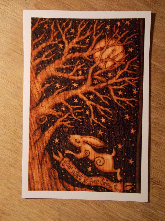 Hare inspirational postcard print of original by salixpyrography