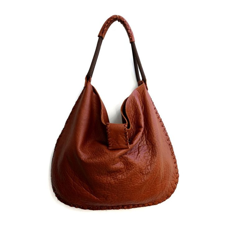 Large Leather Shoulder Bag in Cognac Brown. Leather Shopping Bag. – Maslinda Designs