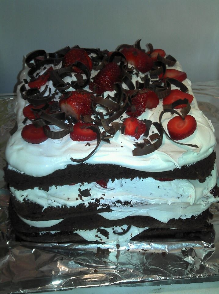 easy Black Forest Cake. Box of Devils Food Cake mix, fresh ...