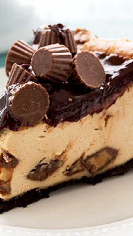 Peanut Butter Cup Cheesecake ~ the *BEST* cheesecake... The crust is buttery yet crunchy while the filling is lusciously smooth with bites of mini Reese's cups. The chocolate ganache and pile of mini Reese's on top just takes this cheesecake to a ridiculously awesome level.