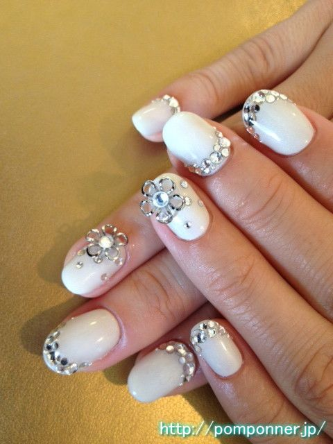 Bling nails for a wedding. id like them more squared tho i dont really like the rounded nails