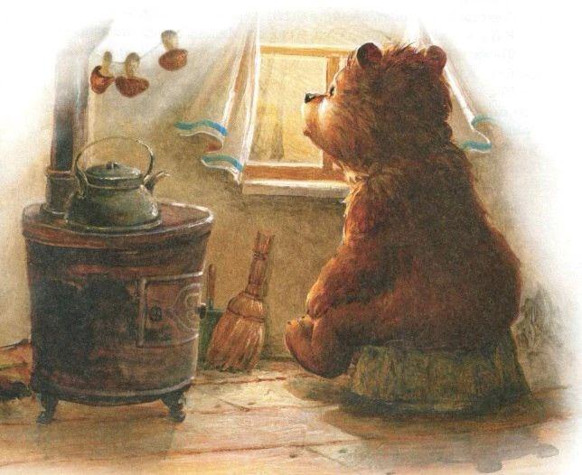нанесите картинки чай и медведь вдоль белоснежного