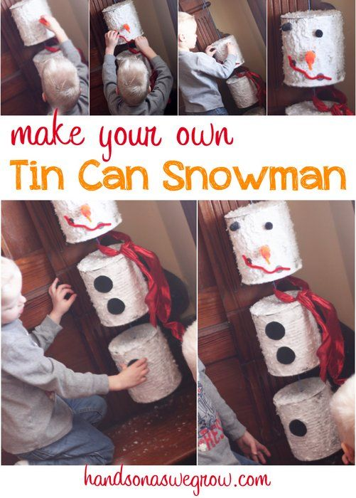 A snowman craft made from tin cans to hang up as a wind chime on your front porch. Make this craft interactive with snowman magnetic pieces!