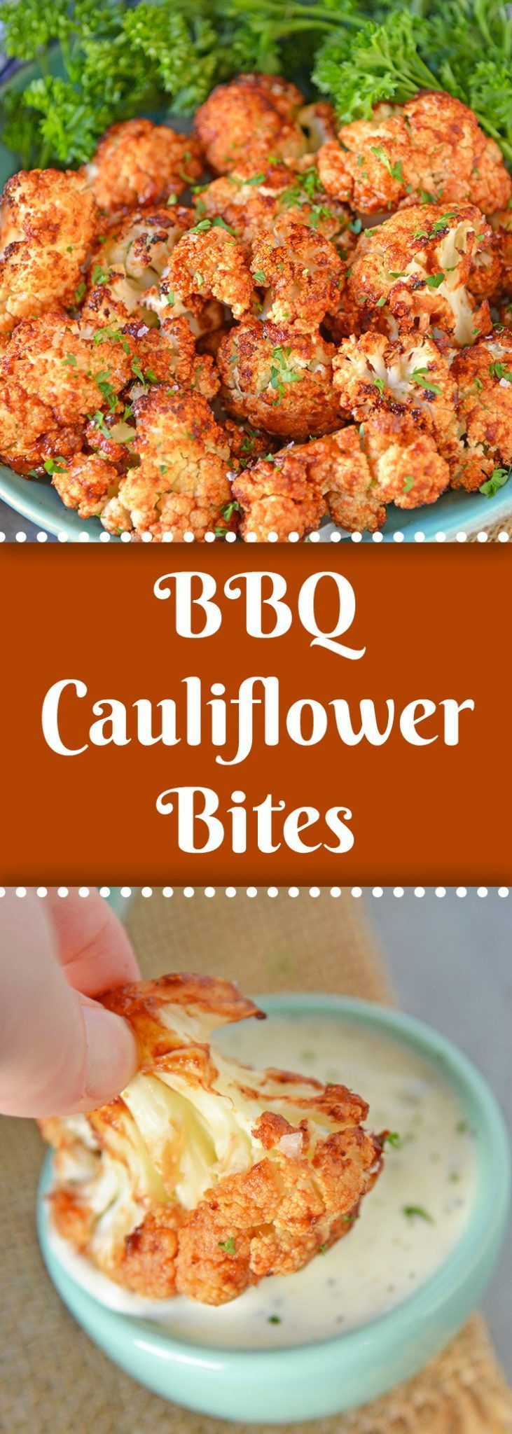 BBQ Cauliflower Bites make a healthy and quick appetizer or side. Make them zest…