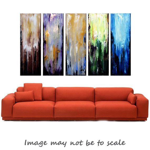 Large Abstract Five Panel Art Original Art by ModernArtHomeDecor