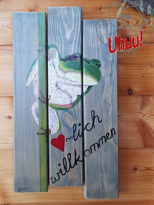 frosch willkommensschild handgemalt malen auf alte holzbretter malen auf holz frog welcome. Black Bedroom Furniture Sets. Home Design Ideas