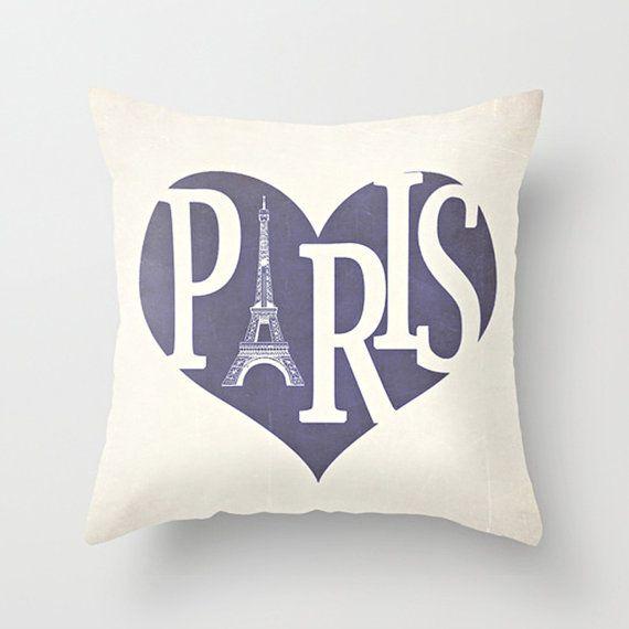Paris Pillow Cover Purple Pillow Eiffel Tower by Happy Pillow Shop