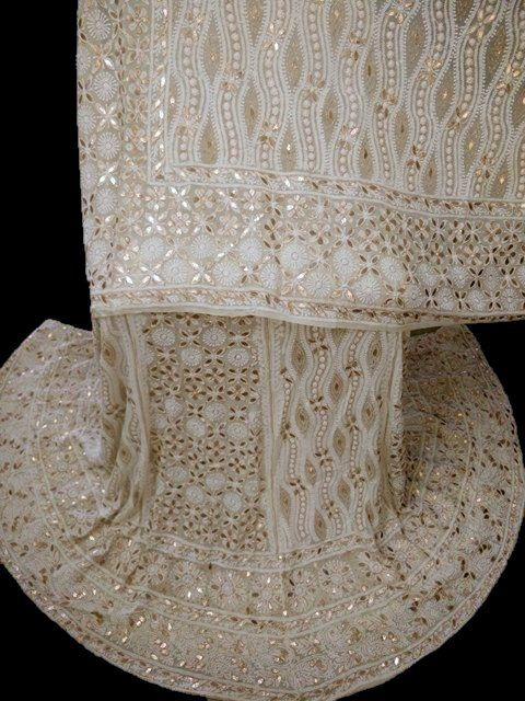 Lucknowi Chikankari Heavy Bridal Lehenga Set with Gota Patti Work