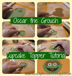 Sarah Lynn's Sweets: Oscar the Grouch Cupcake Topper Tutorial