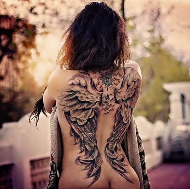 Big Wings Of Angels Tattoos On The Back Badass Girl Girl Back