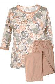 MUZZY nightwear, Piżama bawełniana, bluzka w kwiaty z rękawem za łokieć. Spodnie długie gładkie. Więcej na www.muzzy.pl/sklep