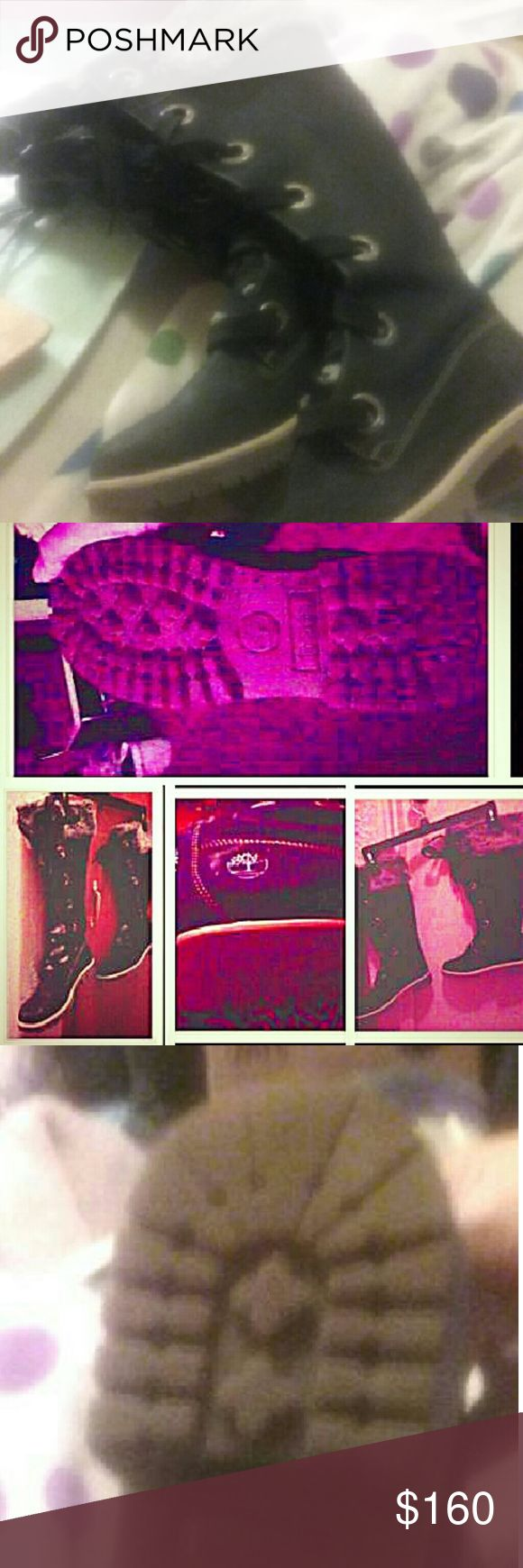 Ladies Timberland boots size 8M. Ladies Timberland boots size 8M  Black with grey fur lining  Winter boots knee High, but not over the knee. Timberland Shoes Combat & Moto Boots