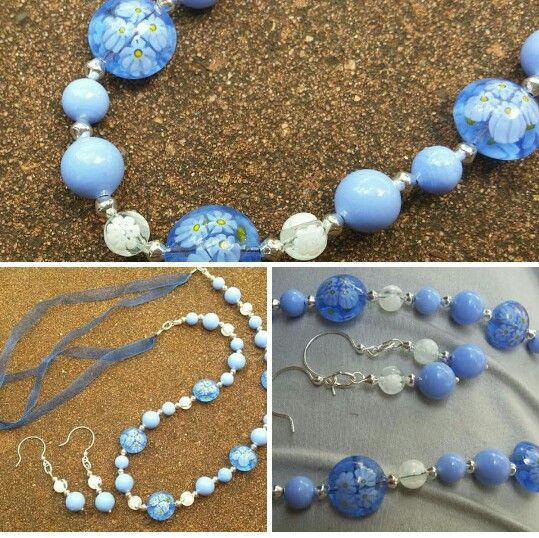 Soft blue and white Murano glass necklace with ribbon extender and matching earrings I just finished creating. #jewellery #jewelry #originalcontent #necklace #murano