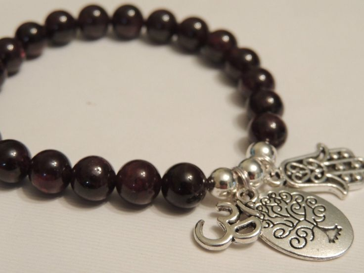Garnet Gemstone Bracelet, Ohm, Tree of Life & Hamsa Protection Charms