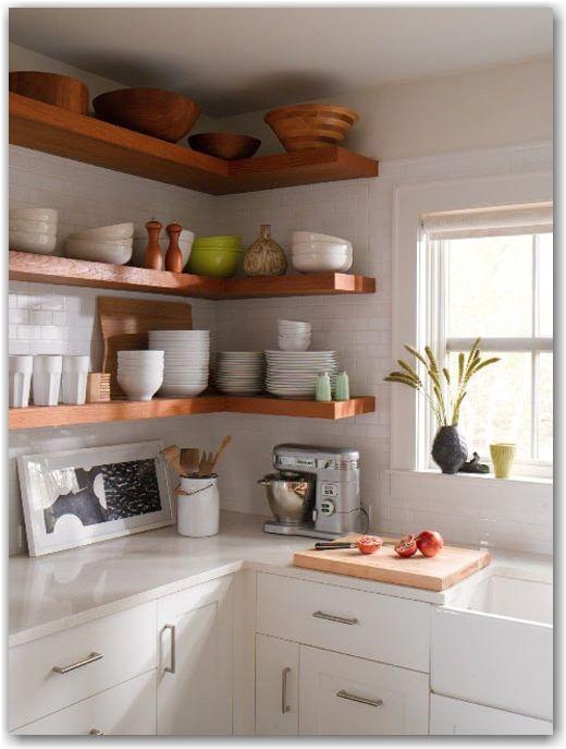 Wood Floating Shelves White Subway Tile Kitchen Ideas Pinterest