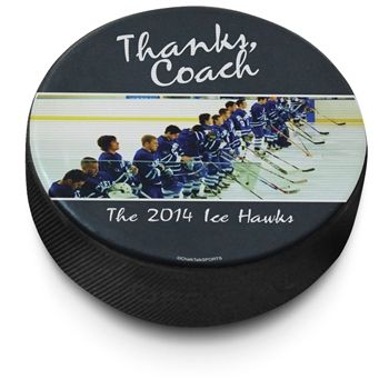 Create your own unique hockey puck.  We'll add your name and/or message to this regulation hockey puck.