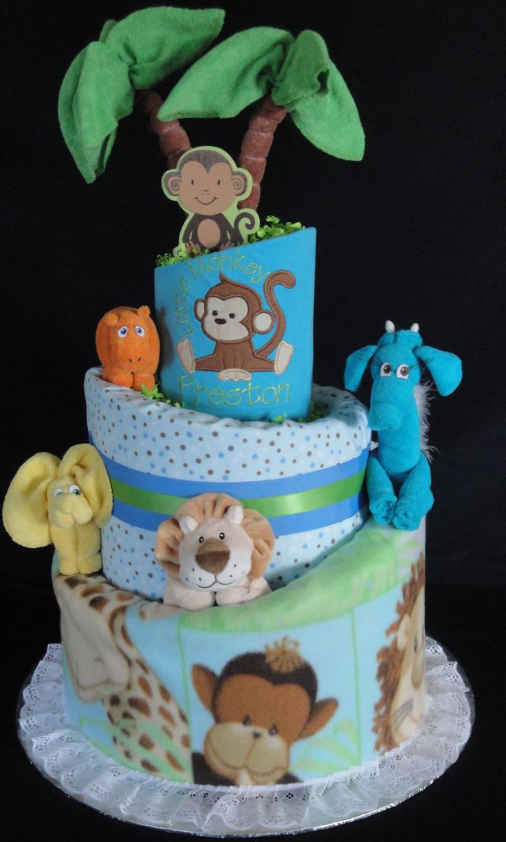 Jungle Themed Diaper Cake www.facebook.com/DiaperCakesbyDiana