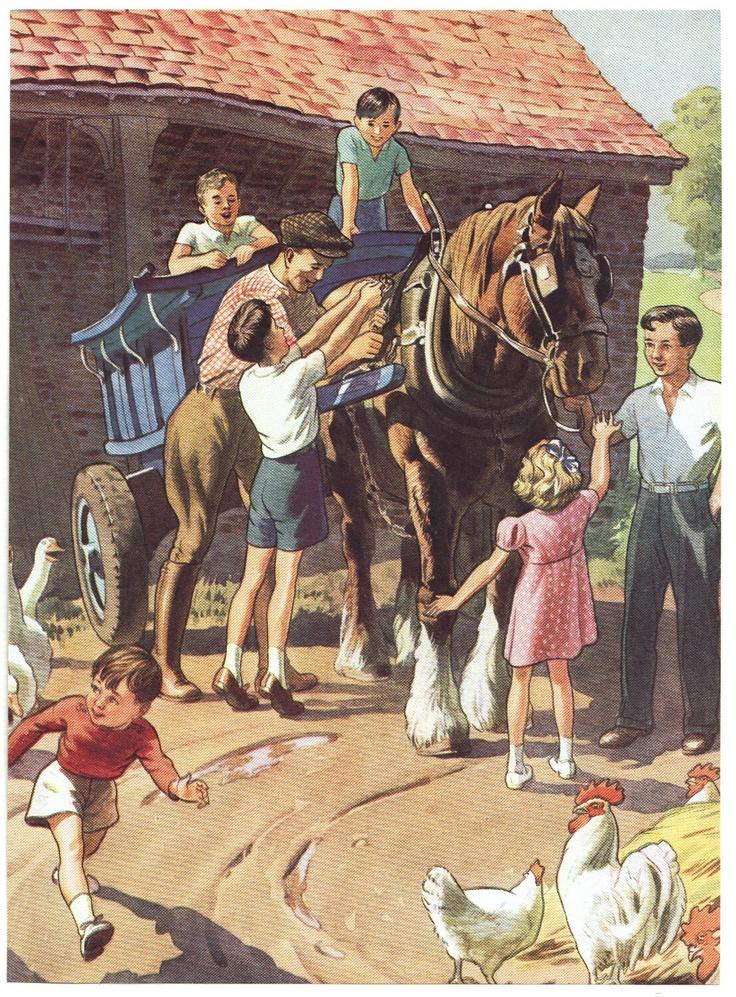 1940s vintage farm illustration, via Etsy.