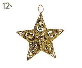 Dalani Set di 12 stelle decorative in metallo Star oro - 15x15 cm