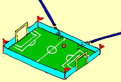 voetbal(blaas)spel Deksel schoenendoos, knippen en plakken, 2 rietjes én spelen maar