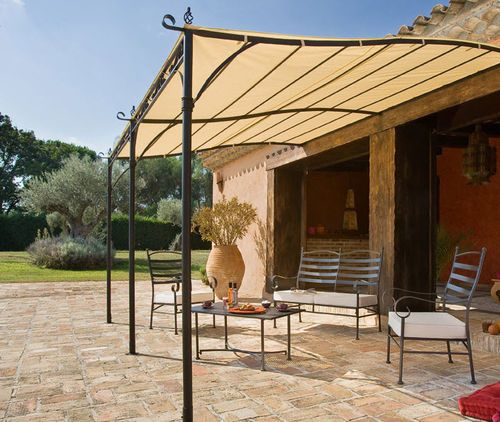 Attached Wrought Iron Patio Cover With PVC Mesh (UV) Cover