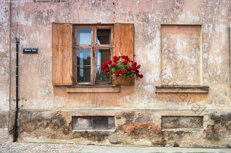 Vanha talo - vanha seinä ikkuna ikkunaluukut ikkunaluukku puiset puinen rapautunut pinta kulunut maali lohkeillut maalipinta rapistunut korjaustarve kivi värikäs kukka kukat kukkaruuku idyllinen