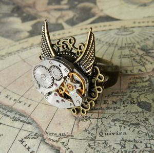 Image of Steampunk Winged Clockwork Ring