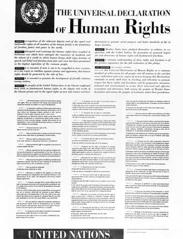 The Universal Declaration of Human Rights is a UN Declaration which is supposed to be implemented across all participating countries. In Middle Eastern countries, where strict Islamic Law is enforced, the laws are curbed to protect Islam first and Human Rights second.