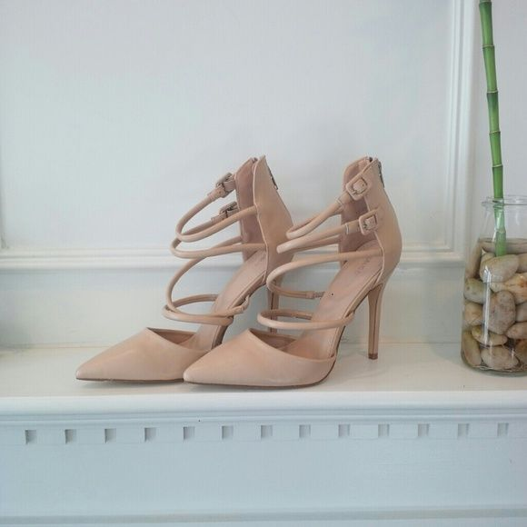 Host Pick Public Desire Nude Pump Sexy D'orsay strappy nude pumps from public desire with a zip up closure in the back. New in box. UK size 7 Public Desire Shoes