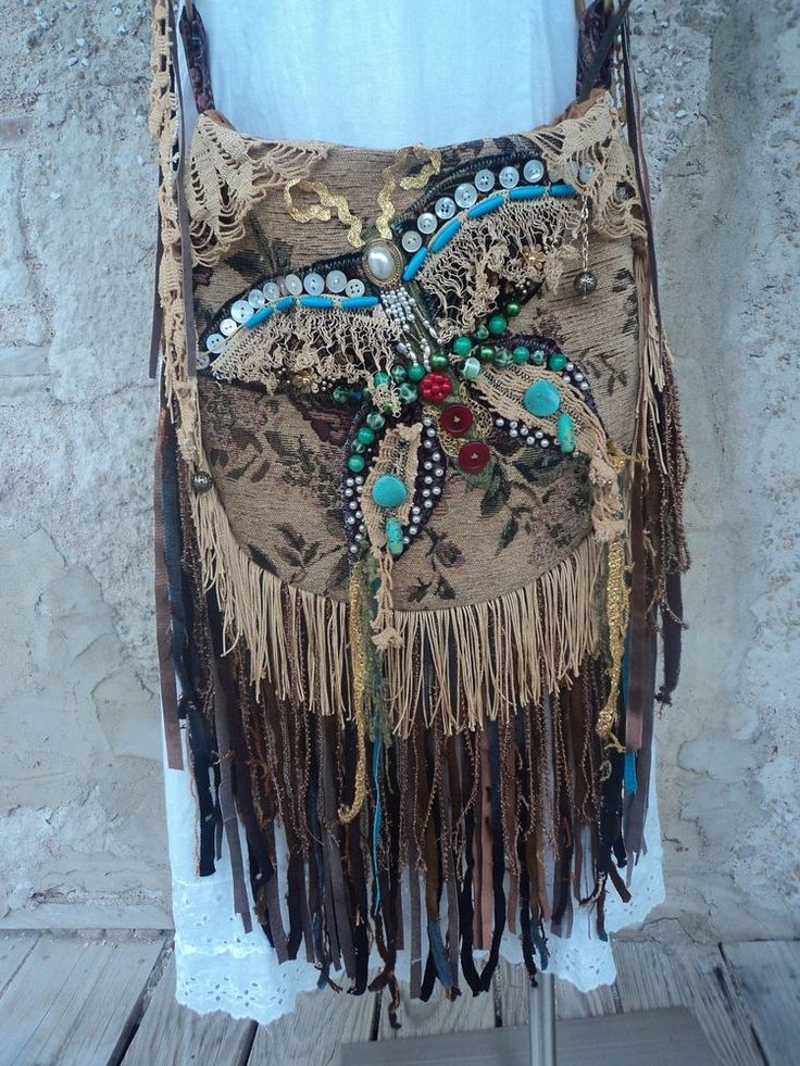Handmade Fringe Cross Body Bag Boho Hobo Gypsy Hippie Handbag Tote Purse tmyers #Handmade #MessengerCrossBody
