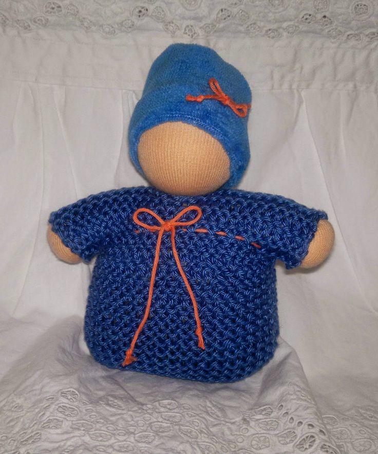 Waldorf baby blue cotton knitted, velvet cap