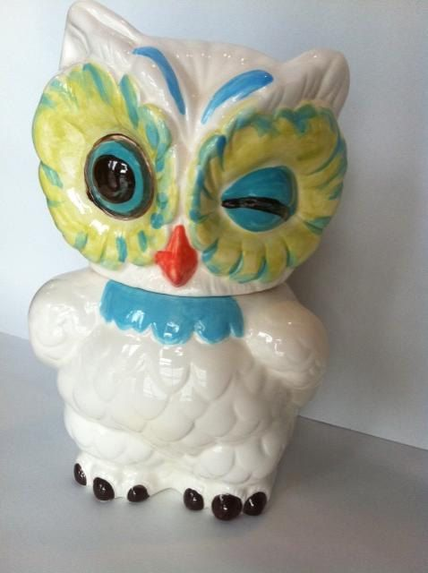 Owl Cookie Jar in Aqua Turquoise and Green by PlainJanePottery