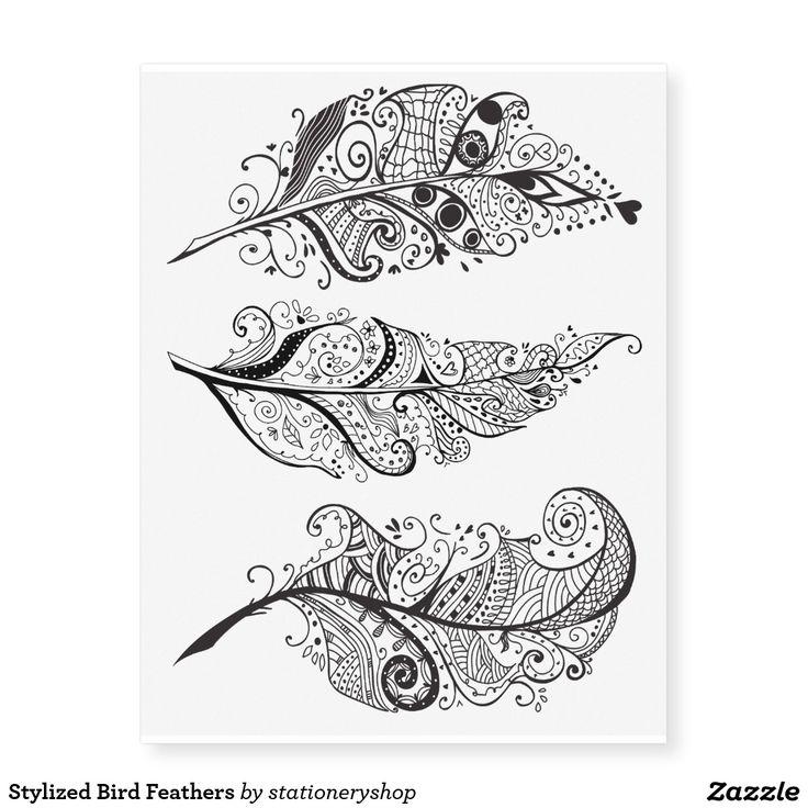 Plumas de pájaro estilizadas tatuajes temporales