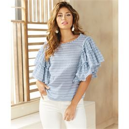 ab6925476ccc21 Culver Ruffle Sleeve Top in Blue Stripe. Women s Fashion for Spring.