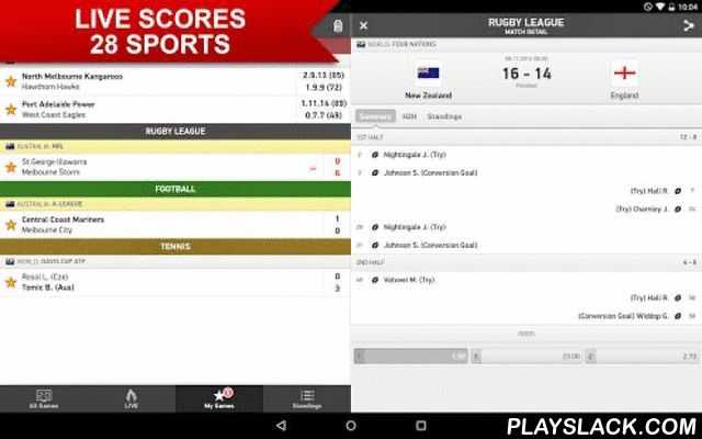 FlashScore.com.au  Android App - playslack.com , Fast and most accurate sports live scores from 28 sports (football, league, rugby, soccer, …) and 5000 leagues and competitions from around the globe. Live scores, results, ladders, statistics.Main features:- fast and most reliable results service from football, league, rugby and 25 other sports - LIVE feature that allows you to watch just the current live games for selected sport- live match statistics for 7 sports (football, tennis, cricket…