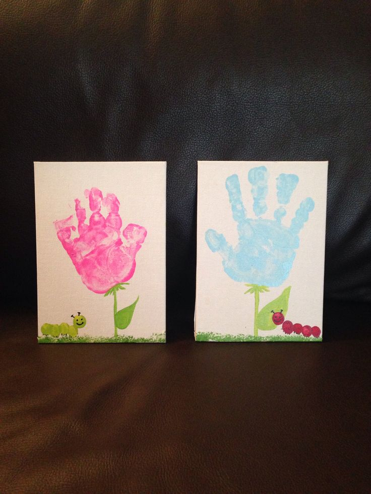 Simple hand and and finger print craft. Plan on framing these mini canvases to hang on the wall.