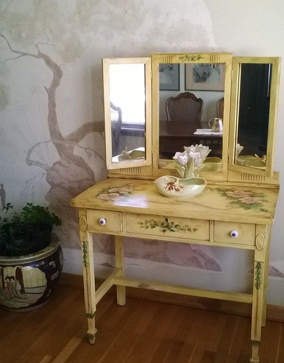 Tri Fold Mirror Vanity Makeup Table 1800s Hand Painted
