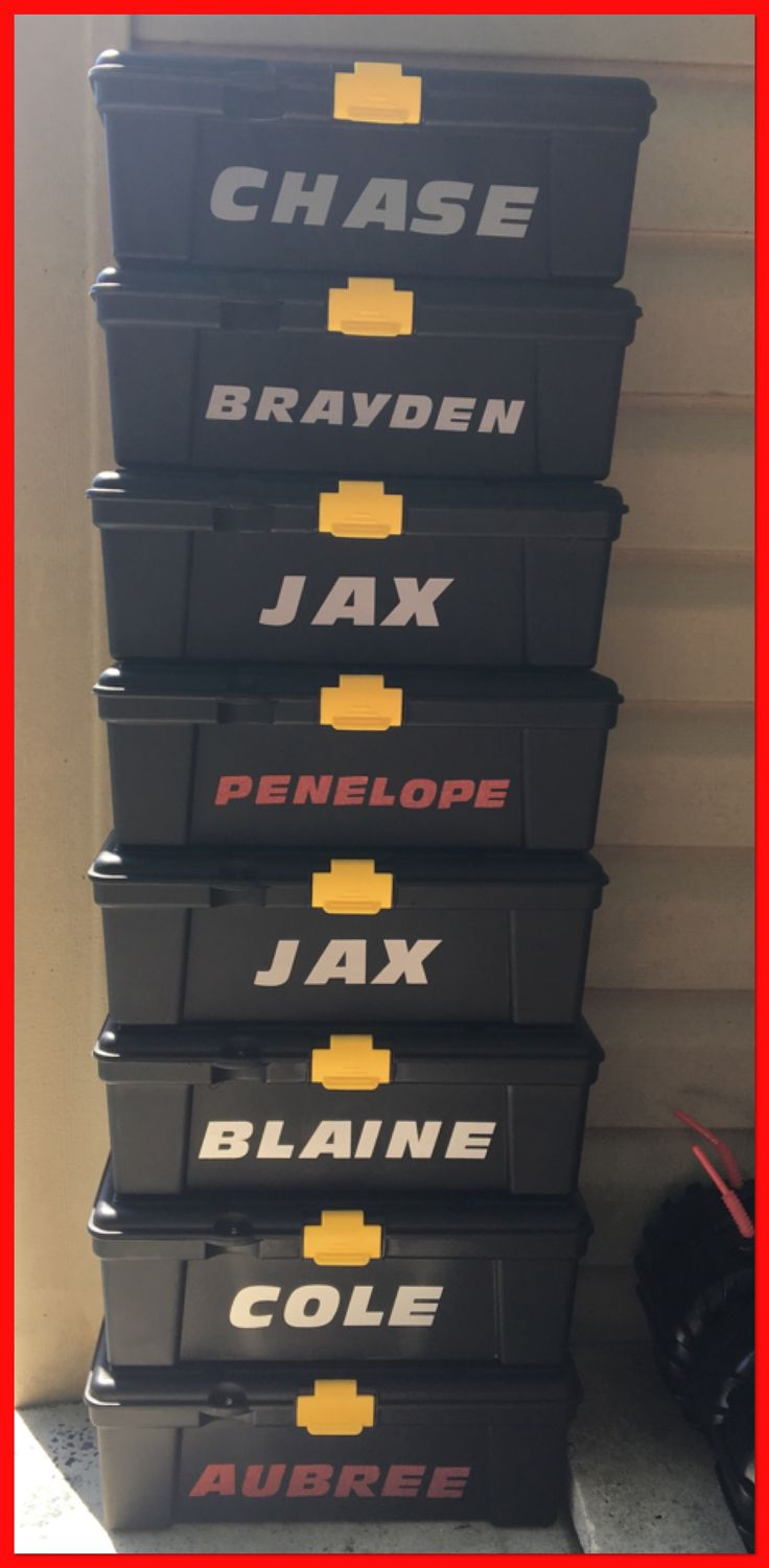 Personalized $1 Store tool boxes for Favors for my son's Blaze