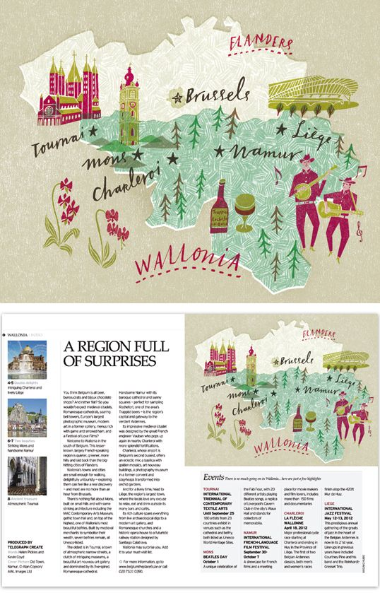 Wallonia (in Belgium) map for the Telegraph by Masako Kubo