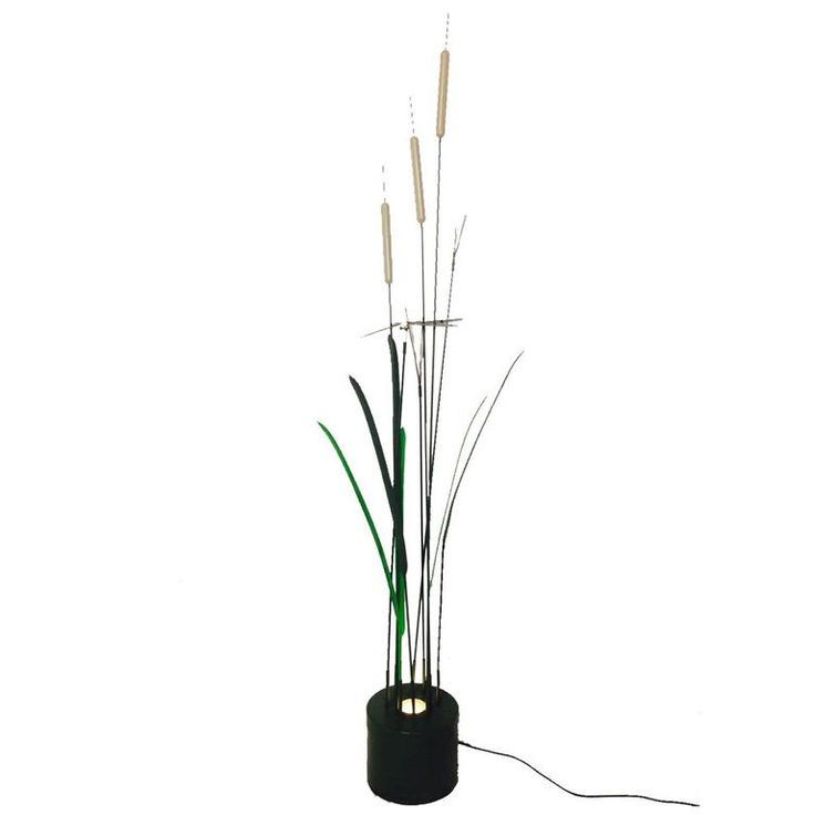 """1970's C. Jere """"Cattails"""" Sculptural Indoor/Outdoor Floor Lamp 