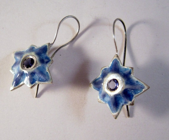Silver violet blue star earrings with iolite by kochiokada on Etsy, $240.00