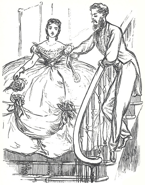 Cartoon making fun of extreme crinoline width: