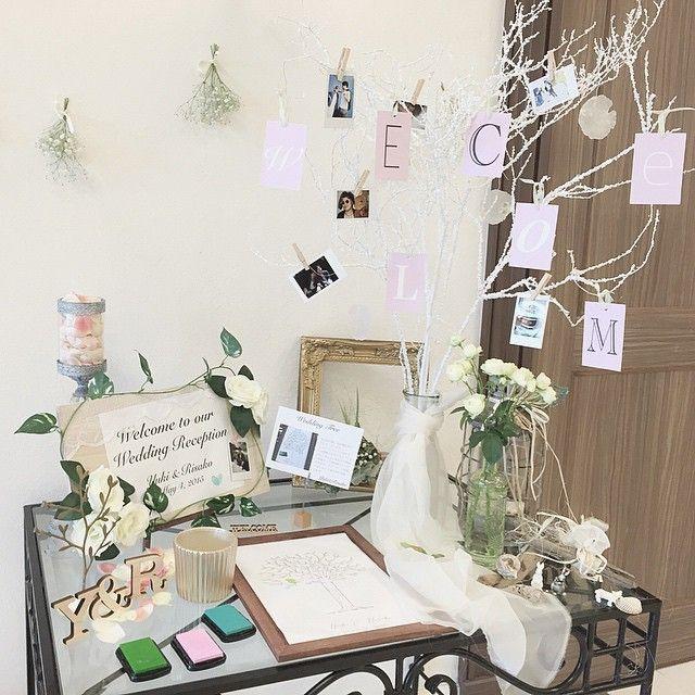 ウェルカムスペースのデザインと製作をしました #wedding#weddingtree#welcometree#welcomebord#instagood#daily#結婚式#ウェルカムツリー#ウェルカムボード#ウエディングツリー