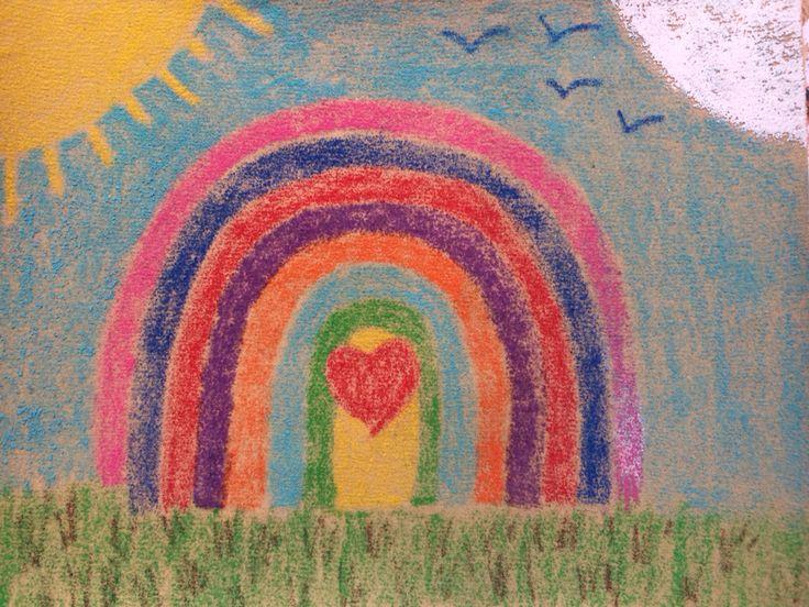 Efecto arena de colores una vez planchado. Explico el proceso en la otra imágen doble del arcoiris ;)