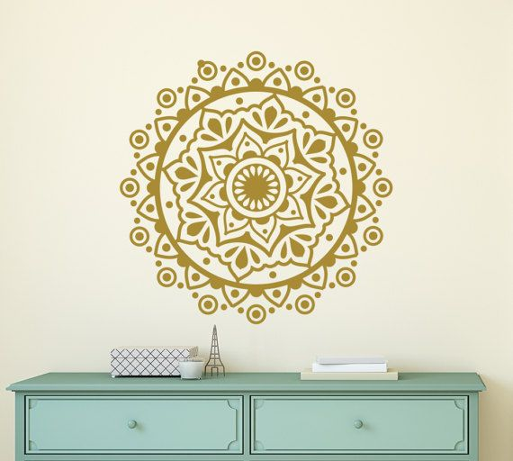 Wall Decal Mandala Lotus fleur Stickers Bohème Decor Mehndi